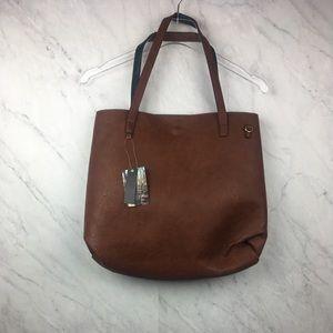 Street Level Brown & Green Reversible Tote Bag